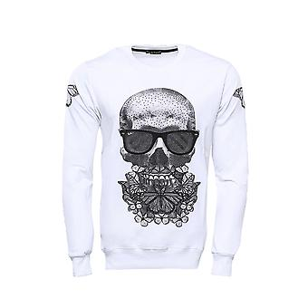 Sweat-shirt blanc imprimé crâne