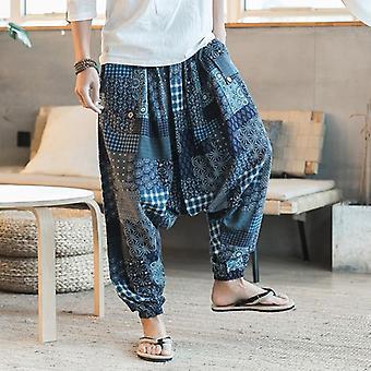 Men Harem Pants Drop Crotch Pockets Joggers Print Casual Trousers Pants