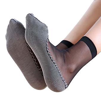 1 par myke sokker, casual sklisikker bunn skjøte mote tynne silke sokker
