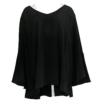 H By Halston Women's Plus Top Textured Blouse W/ Bell Sleeve Black A305353