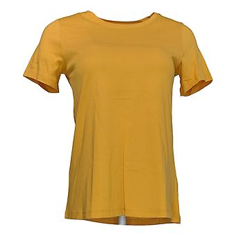 LOGO By Lori Goldstein Women's Top XXS Knit With Short Sleeves Yellow A342991
