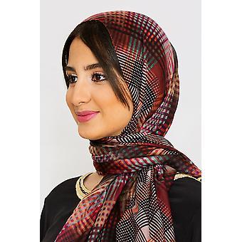 Women's lätta satinhuvudsscarf i lila & svart checktryck