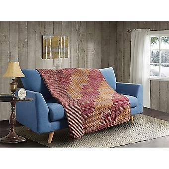 Spura Home  Montana Cabin Red & Tan Patchwork Quilted Sherpa Throw Blanket sofa Bed