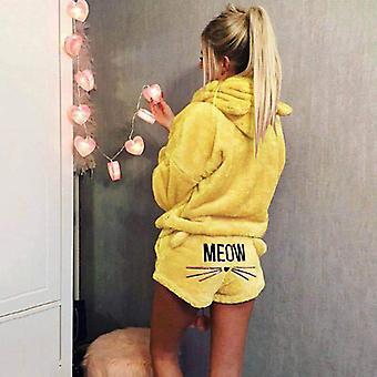 Women Pajama Sets, Autumn Winter Flannel Cartoon Warm Sleepwear Homewear