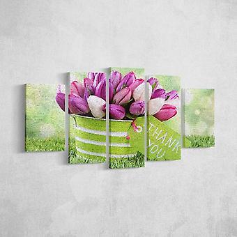 Painel de flores multicolorir em poliéster, madeira, L20xP3xA40 cm (2 pcs), L20xP3xA50 cm (2 pcs), L20xP3xA60 cm (1 pcs)