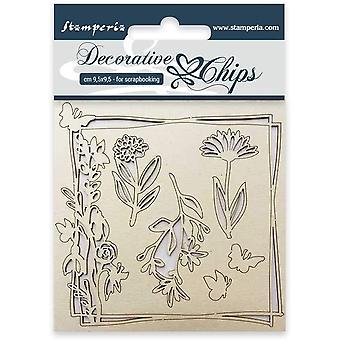 Stamperia dekorative Chips Blumen und Schmetterling