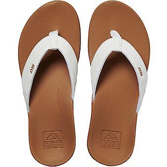 Reef Womens Ortho Coast Casual Beach Pool Sandals Slippers Teenslippers - Tan/White