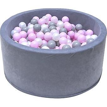 Groapă cu bile - piscină cu bile robustă -90 x 40 cm - 200 bile Ø 7 cm - roz, alb, gri