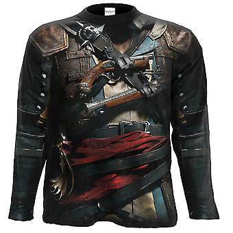Assassins Creed Iv Черный флаг Allover Длиннорубашечник Футболка Черный