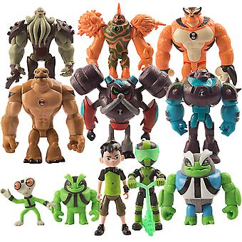 11pcs Ben10 Figure Toy Young Hero Hacker Anime Doll Model