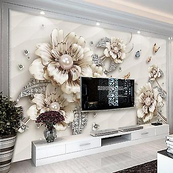 3d Stereo Jewelry Flower Photo - Living Room, Tv Luxury Background Murals