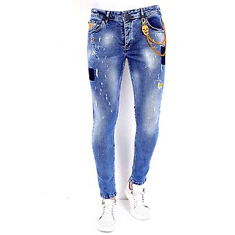 Jeans With Paint Splashes - 1008 - Blue