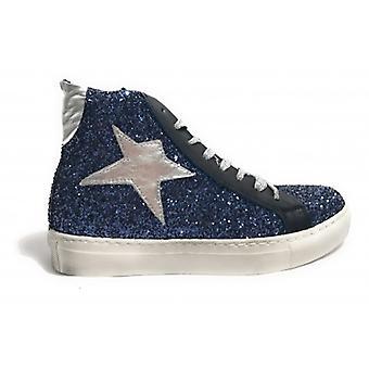 Женская обувь Tony Wild Кроссовки Высокий блеск Синяя звезда Серебро D18tw14