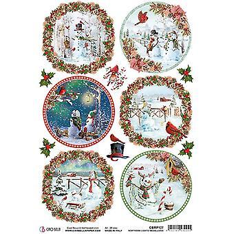 Ciao Bella Piuma Rice Paper A4 - Northern Lights Medallions