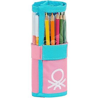 Lyijykynäkotelo Benetton Color Block Roll-up Keltainen Vaaleanpunainen Turkoosi (27 kpl)