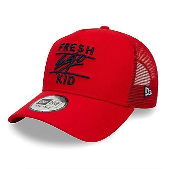 Fresh Ego Kid | Fek-603 New Era Mesh Trucker Cap - Red/black