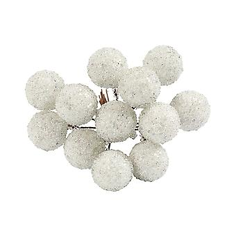 12 Wired White Glittered Berries for Christmas Wreaths & Floristry