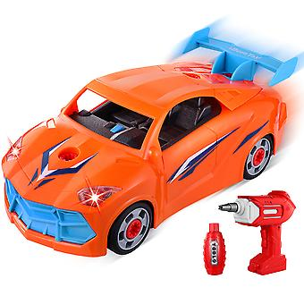 Ibasetoy 22pcs/set Take Apart Vehicle Toys Assemble Toy Car With Electrical Drill Tools Kids Educational Racing Car