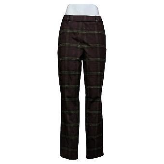 Susan Graver Regular Slim-Leg Ankle Pants Wine/Olive Medium A367248