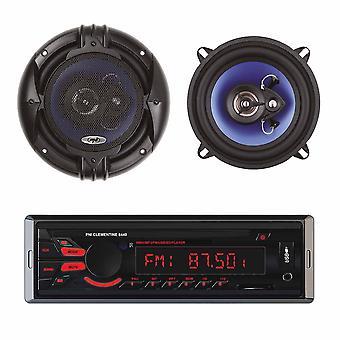 Clementine 8440 4x45W USB SD AUX 12V Car MP3 Auton MP3-soitin setillä 2 PNI HiFi500 Coaxial Car Speakers, 100W, 12,7cm