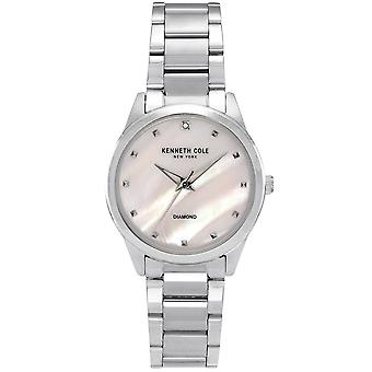 Kenneth Cole Kc50938003 Modern Classic Diamond Mother Of Pearl Silver Stainless Steel Ladies Watch