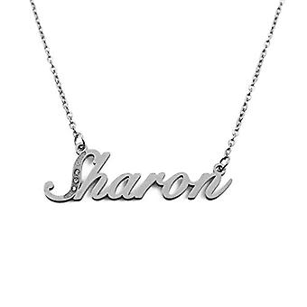 Kigu Sharon - Necklace with personalized name, in silver tonalit, with pendant in the shape of a delicate name, jewel for women, Ref. 4993933194297