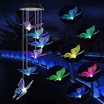 Butterfly LED Solar Wind Chimes Memorial Hanging Wind Bell for Home Garden Decoration Automatic Light Changing Color