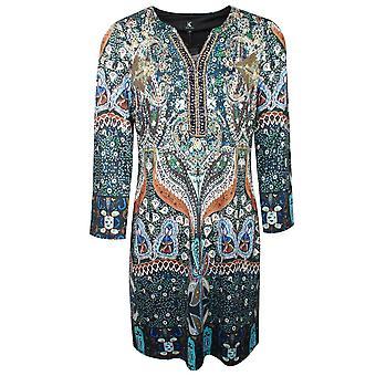K-design Long Sleeve Kaftan Style V Neck Dress