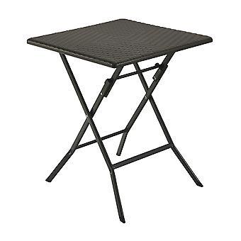 Coffee table garden foldable 62 x 62 cm– Rattan look brown