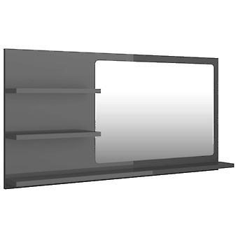 vidaXL Badkamerspiegel Hoogglans Grijs 90x10,5x45 cm Spaanplaat