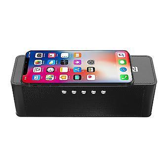 JY-28 Qi Trådlös Snabbladdare Bluetooth NFC Högtalare Stöd Väckarklocka TF-kort USB AUX