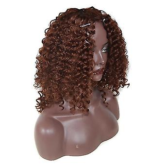 Lady Middle Parting Fluffy Curly Perücke (Braun)