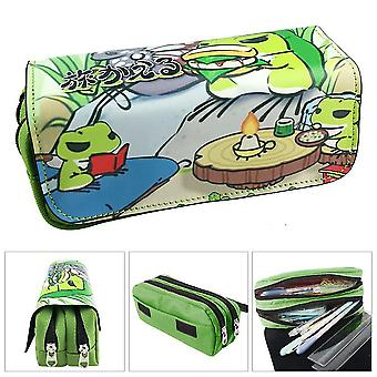 Travel frog children double-layer pencil case large capacity(Color-2)