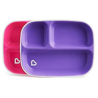 Munchkin splash divider plates 2pk pink and purple