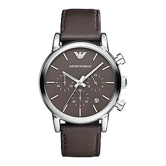 Emporio Armani AR1734 Brown Leather Strap Brown Dial Date-Window Chronograph Watch