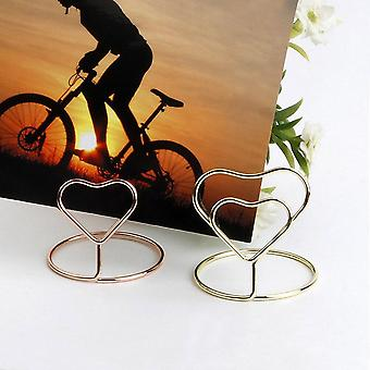 10Pcs heart shape place memo card holder wire table number holders with base for christmas wedding banquet party decorations