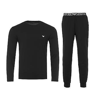 Emporio Armani Loungewear Stretch Cotton Pyjama Set - Black