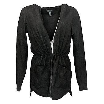 ModernSoul Women's Sweater Plus Spacedye Tie-Front Cardigan Black 681524