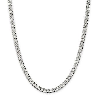 925 Sterling Silver Solid Polished Flat Close Curb Chain Necklace 6.3mm Lobster Claw Jewelry Gifts for Women - Length: 1