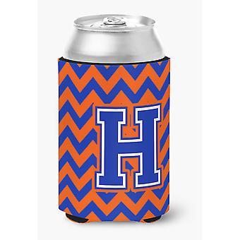 Letter H Chevron oranje en blauw kunnen of fles Hugger