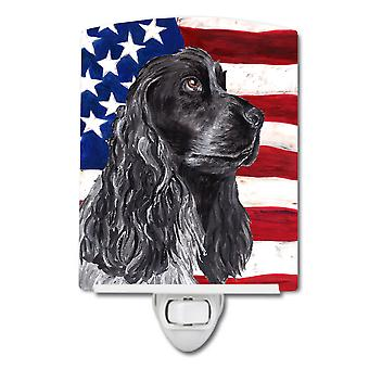 Black Cocker Spaniel with American Flag Ceramic Night Light