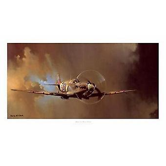 Spitfire plakat Print af Barrie Clark (36 x 18)