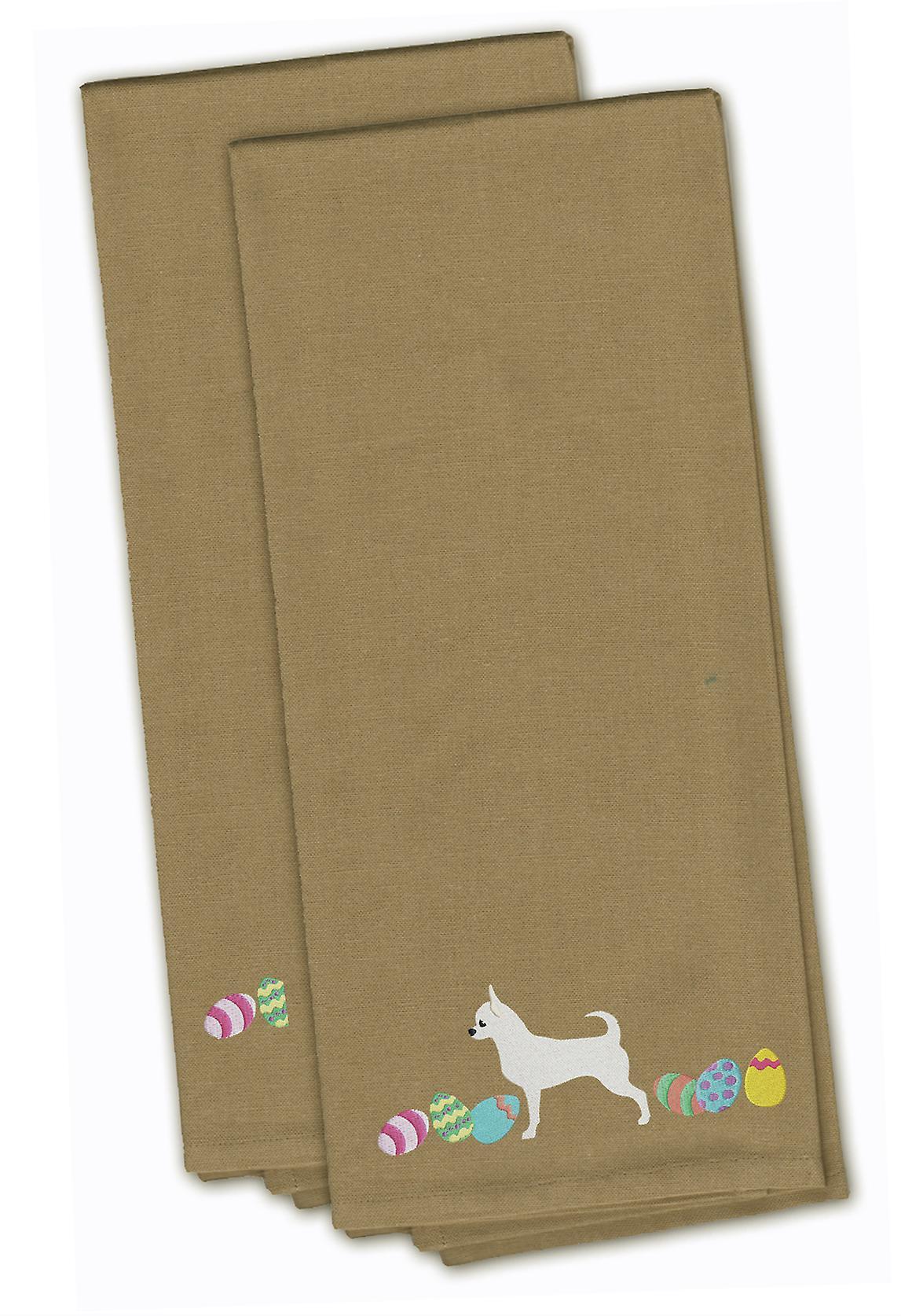Chihuahua Pasen Tan geborduurd keuken handdoek Set van 2