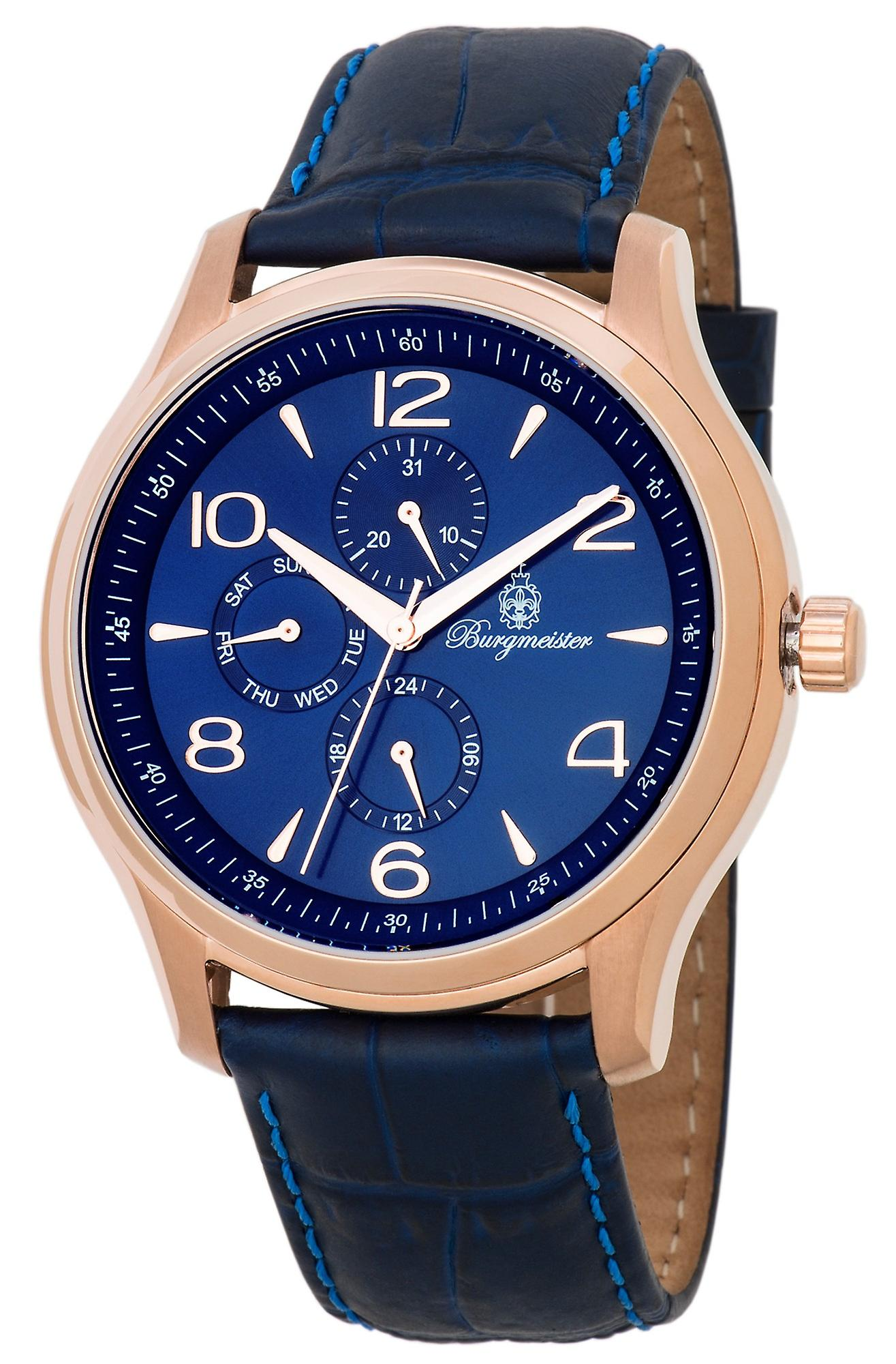 Burgmeister BMT04-333 Montpellier, Gents watch, Analogue display, Quartz with Seiko Movement - Water resistant, Stylish leather strap, Classic men's watch