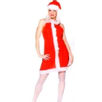 Kära Miss Santa Fleece förkläde med Pom Poms & Hat - Medium