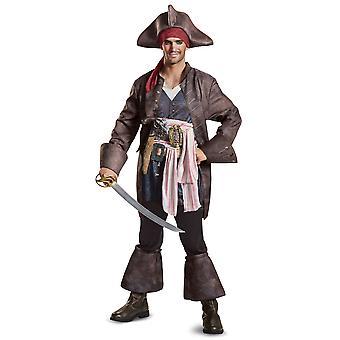 Potc5 Deluxe Captain Jack Sparrow Pirates of the Caribbean Mens Costume Plus 2XL
