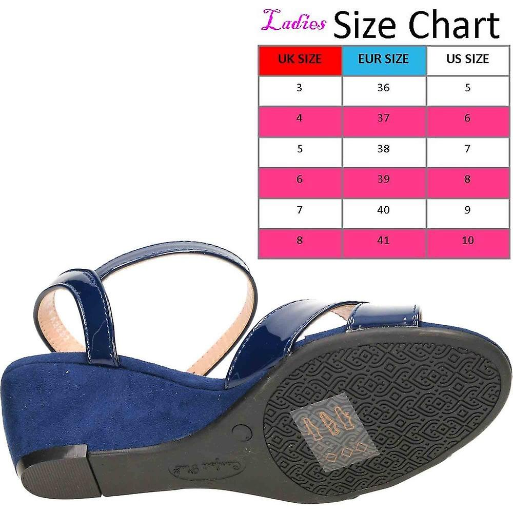 Comfort Plus Wide Fit Slingback Wedge Open Toe Patent Suede Shoes