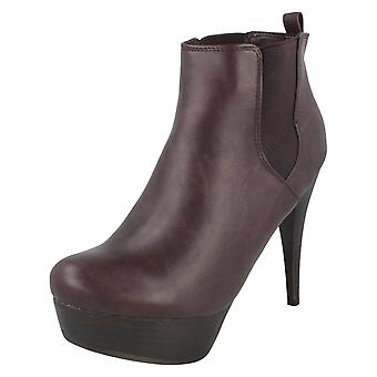 Ladies Coco High Stacked Heel and Platform Ankle Boots L8627
