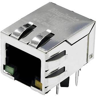 MagJack Gigabit Ethernet 8 lähetin LED-välilehti alas pistorasia, horisontaalisten mount Gigabit Ethernet nastojen määrä: 8P8C nikkeli-pinnoitettu, metalli BEL Stewart