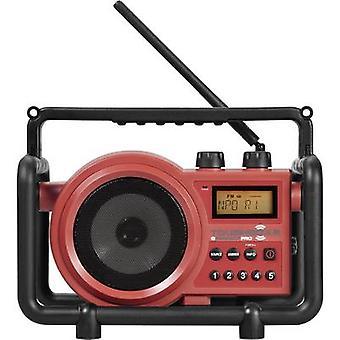PerfectPro Toughbox 2 werkplek Radio FM, AM AUX Splashproof, stofdicht, schokbestendig rood
